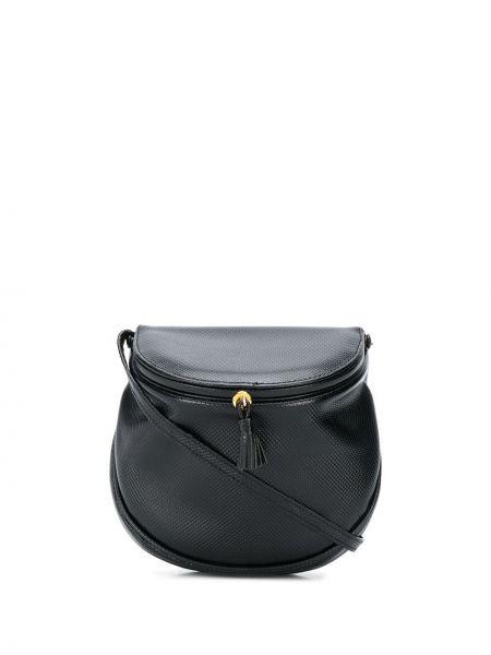 Кожаное черное поло с карманами с декоративной отделкой Bottega Veneta Pre-owned