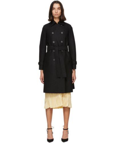 Шерстяное черное длинное пальто с воротником Harris Wharf London
