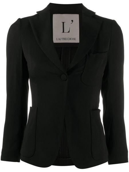 Черный удлиненный пиджак с карманами на пуговицах L'autre Chose