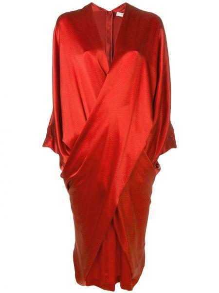 Драповое приталенное платье с запахом с драпировкой Poiret