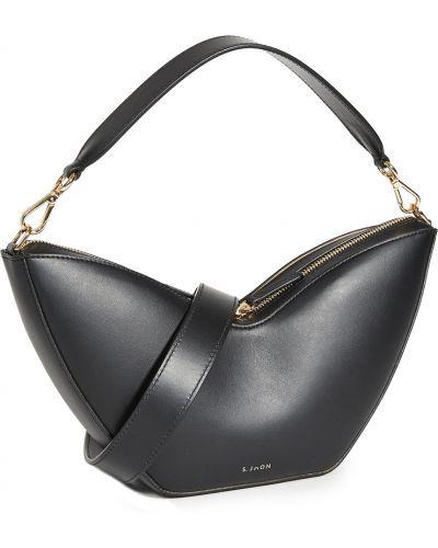 Черная кожаная косметичка с подкладкой S.joon