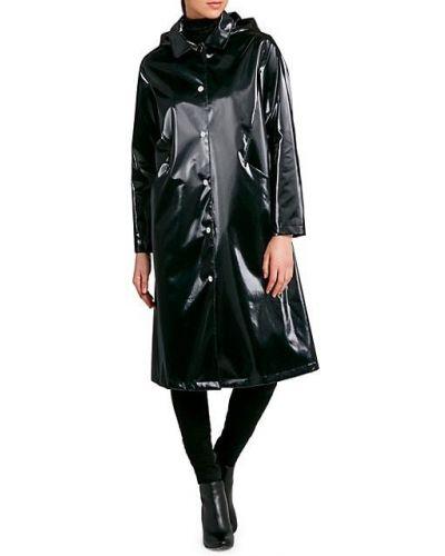 Czarny płaszcz przeciwdeszczowy z długimi rękawami z kapturem Jane Post