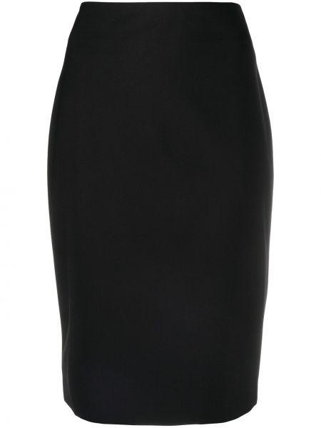 Шерстяная черная прямая с завышенной талией юбка карандаш Theory