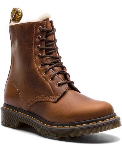 Klasyczny skórzany brązowy buty skórzane Dr. Martens