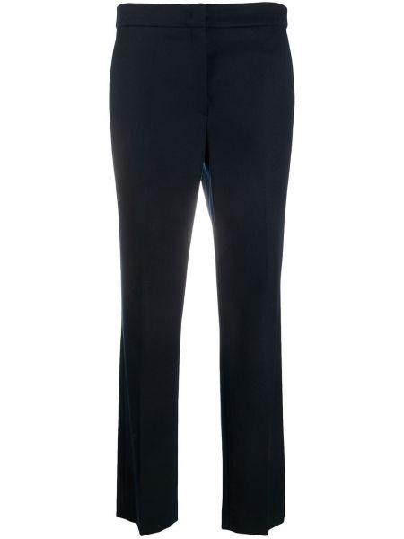 Прямые синие шерстяные брюки на крючках Odeeh