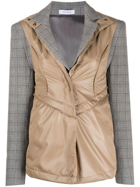 Шерстяной коричневый удлиненный пиджак с лацканами Delada