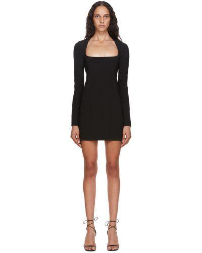 Черное платье мини с воротником квадратное с длинными рукавами Mugler