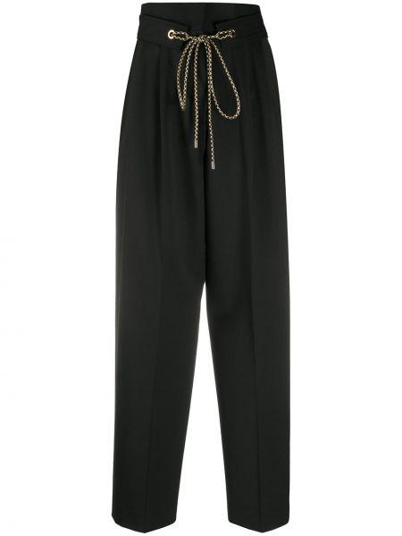 Черные свободные брюки свободного кроя с поясом с завязками Pt01