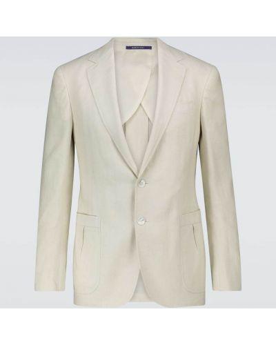 Льняной однобортный малиновый удлиненный пиджак Ralph Lauren Purple Label