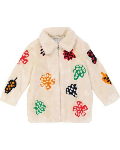 Бежевое плюшевое пальто Stella Mccartney Kids