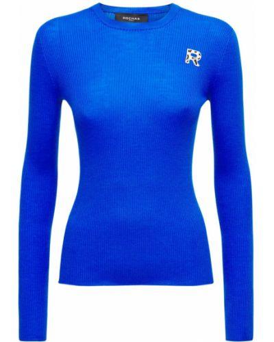Шерстяной свитер - синий Rochas