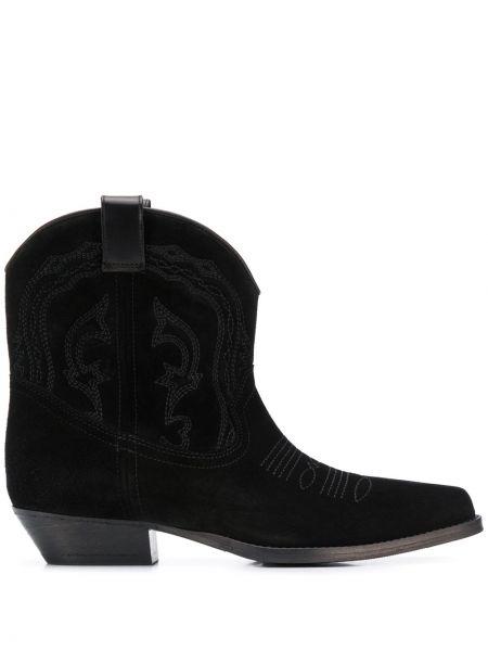 Ковбойские сапоги черные на каблуке Ba&sh