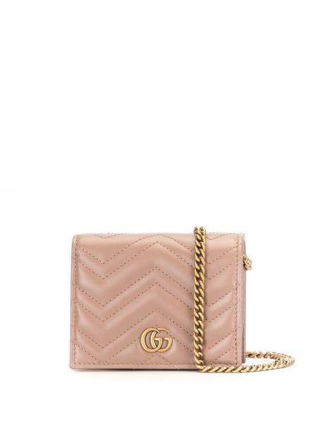 Skórzany różowy portfel z gniazdem z kieszeniami Gucci