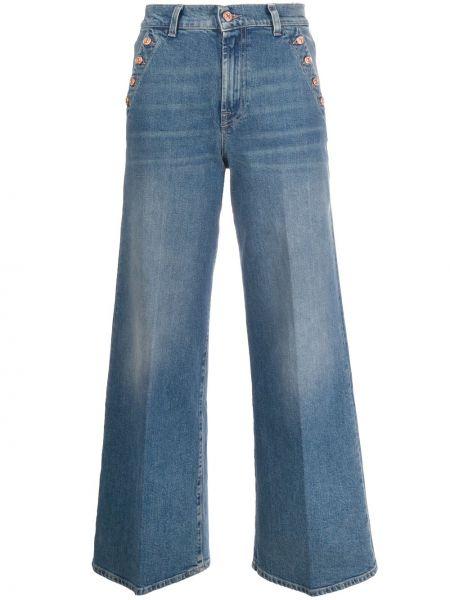 С завышенной талией хлопковые синие расклешенные джинсы на молнии 7 For All Mankind