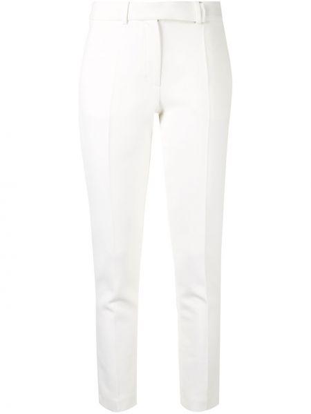Шерстяные зауженные белые зауженные брюки с поясом Paule Ka