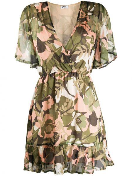 Платье мини с цветочным принтом с V-образным вырезом Liu Jo