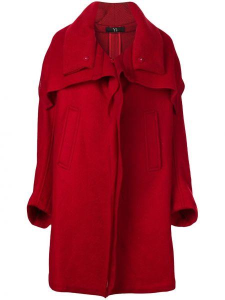 Шерстяное длинное пальто оверсайз с капюшоном Y's