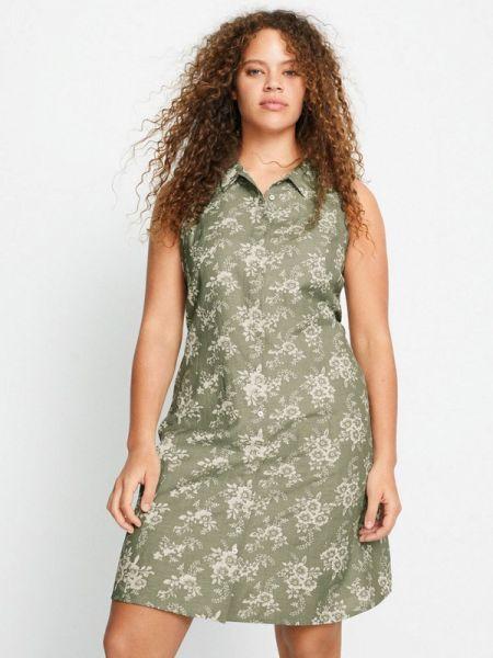 Повседневное платье весеннее зеленый Violeta By Mango