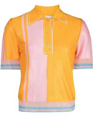 С рукавами шелковый розовый топ с воротником I-am-chen