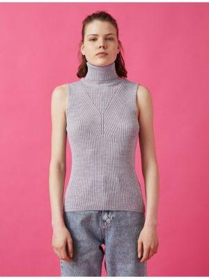 Fioletowy sweter bez rękawów dzianinowy Koton