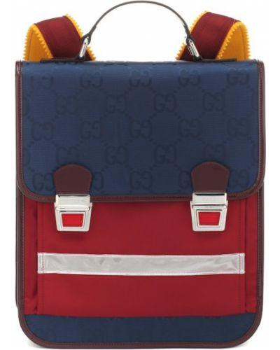 Niebieski skórzany szkoła plecak Gucci Kids