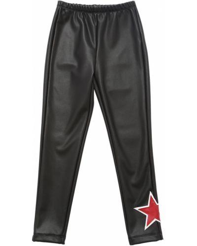 Кожаные брюки на резинке с заплатками Monnalisa