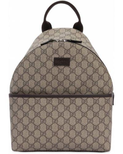 Beżowy plecak skórzany z printem Gucci