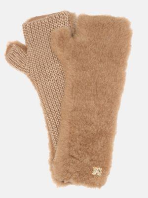 Beżowe rękawiczki bez palców wełniane Max Mara