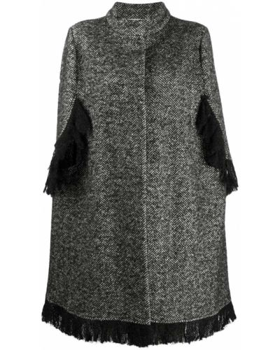 Однобортное черное шерстяное пальто с воротником Charlott