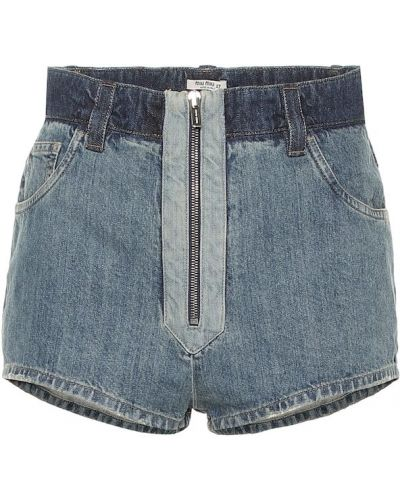 Джинсовые шорты на молнии - синие Miu Miu