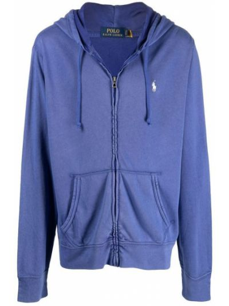 Fioletowy długi sweter oversize z kapturem Polo Ralph Lauren