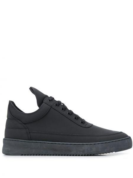 Ażurowy skórzany czarny sneakersy zasznurować Filling Pieces