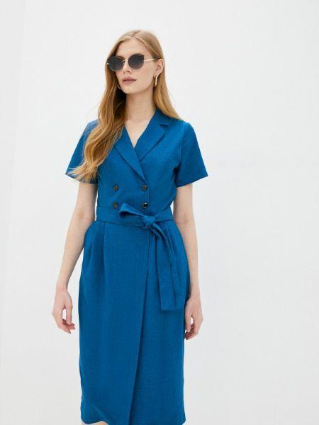 Платье прямое синее Rosso-style