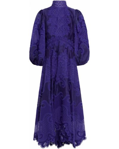 Асимметричное синее платье макси из фатина Zimmermann