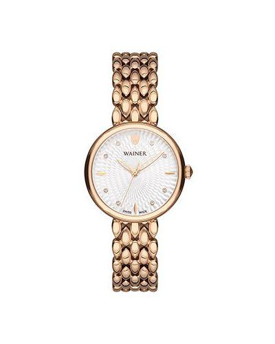 Кварцевые часы швейцарские с фианитом Wainer