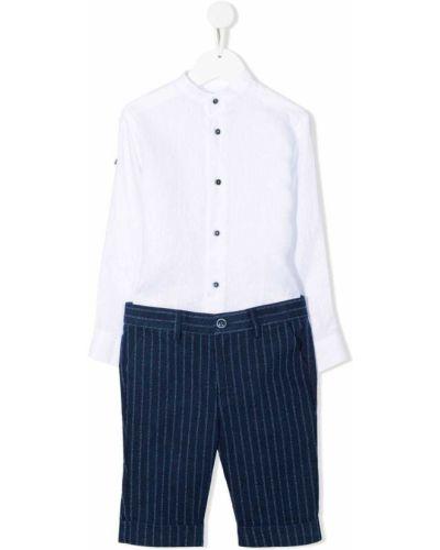 Biały garnitur z paskiem bawełniany Colorichiari