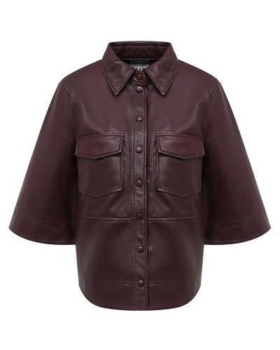 Кожаная рубашка - красная Ganni