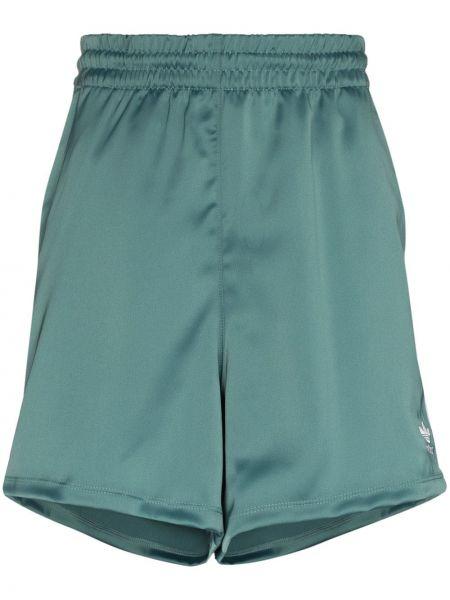 Зеленые с завышенной талией шорты с поясом Adidas