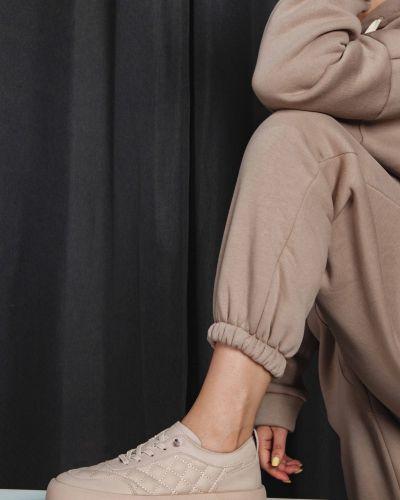 Бежевые кожаные полуботинки Sidestep