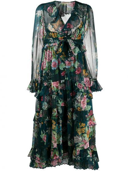 Платье миди с цветочным принтом с V-образным вырезом Zimmermann