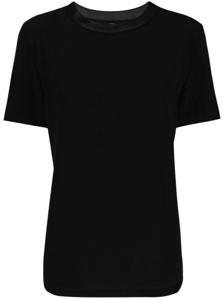 Шелковая с рукавами черная рубашка Joseph