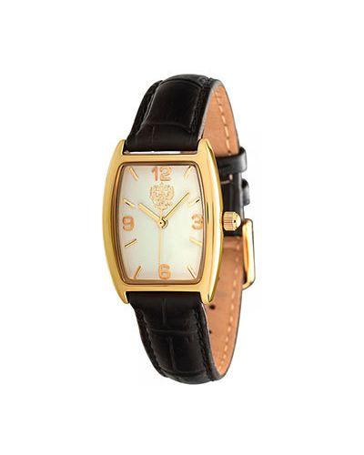 Часы на кожаном ремешке кварцевые коричневый Слава