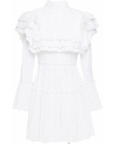 Плиссированное хлопковое белое платье мини Khaite