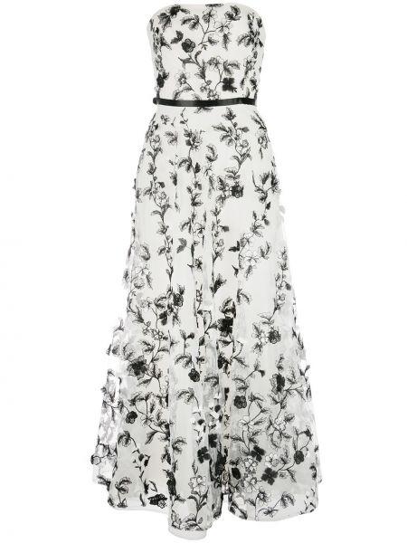Вечернее платье с цветочным принтом с поясом Marchesa Notte