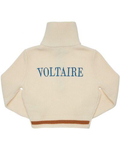 Prążkowany biały sweter wełniany Zadig&voltaire