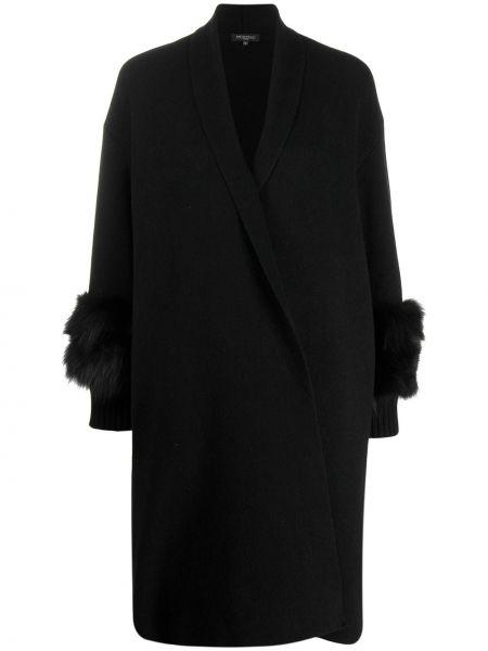 Шерстяное черное длинное пальто Antonelli