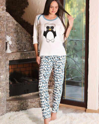 Пижама с брюками с принтом пингвинов хлопковая золотое руно