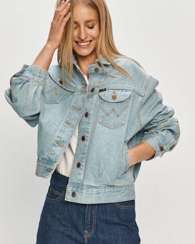 Niebieska kurtka jeansowa z kapturem bawełniana Wrangler