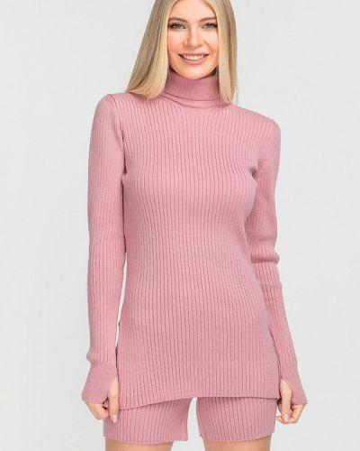 Костюмный розовый вязаный костюм Clever Woman Studio