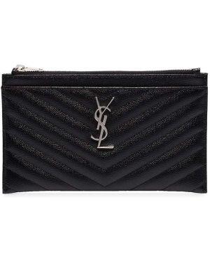Кожаный кошелек черный стеганый Saint Laurent